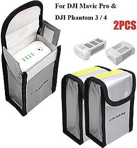 Fireproof LiPo Battery Bag RC Toy Drone LiPo Bag for DJI Mavic Pro DJI Phantom 3 Phantom 4 Safe Charging and Storage, LiPo Guard Pouch Battery Protection Bag, 150 x 90 x 55 mm (2PCS)