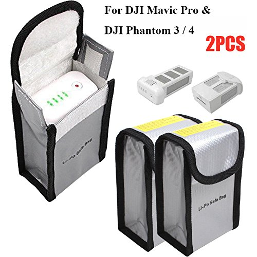 Fireproof LiPo Battery Bag for DJI Mavic Pro DJI Phantom 3 Phantom 4, Battery Safe Storage Bag, 150...