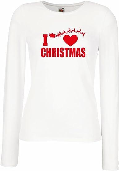 Camisetas de Manga Larga para Mujer Me Encanta la Navidad ...