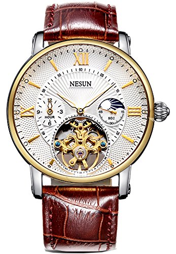 Complications Men's Business Automatic Mechanical Skeleton Casual Watch with Leather Band (Brown Band-White Gold) by NESUN