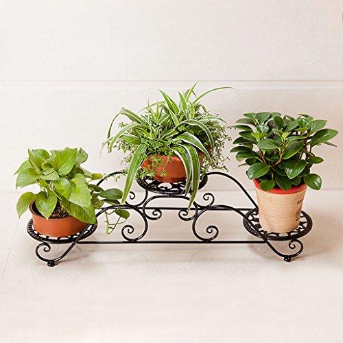 Iron Patio Two Tier - ZGP @Plant stand Iron Flower Pot Rack,2 Tier Plant Display Stand Bonsai Holder Home Garden Patio Decor Shelf Holds (Color : Black, Size : 862423cm)