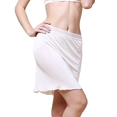 d3363903e92009 Dexinx Femmes Half Slip Élastique Dentelle Taille Court Jupe Sous-Jupe  D'été Couleur unie Confortable Mini Jupe De Soie