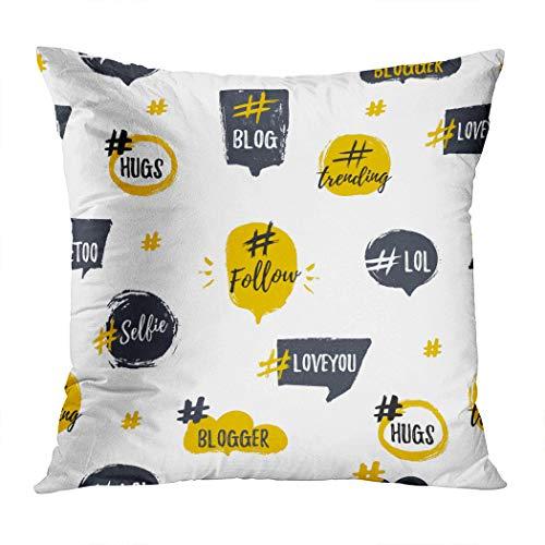Menmek Throw Pillow Cover Decorative Hashtag Bubble Seamless Pattern Trendy Young Hidden Zipper Car Sofa Meeting Room Home Decor Cushion Cover Pillowcase 18 x 18 Inch]()