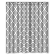 "Eco Friendly Grey Moroccan Tile Quatrefoil Pattern Printed Fabric Shower Curtain Polyester Waterproof Bathroom Curtains with Free Hooks 60"" x 72"""