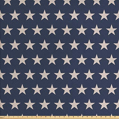 Ambesonne Star Fabric by The Yard Patriotic Star of The American Flag Independence Themeds of Freedom Decorative Fabric for Upholstery and Home Accents 1 Yard Night Blue