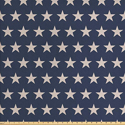 Ambesonne Star Fabric by The Yard, Patriotic Star of The American Flag Festive Independence Themed Symbols of Freedom, Decorative Fabric for Upholstery and Home Accents, 1 Yard, Night Blue Tan