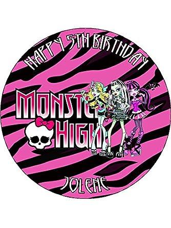 Marvelous Monster High 7 5 Round Personalised Birthday Cake Topper Printed Personalised Birthday Cards Beptaeletsinfo