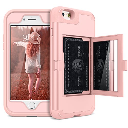 iPhone 6 Plus / 6s Plus Wallet Case - WeLoveCase Defender Wallet Case with Hidden Back Mirror and Card Holder Heavy Duty Protection Shockproof Armor Protective Case for iPhone 6S Plus - Rose Gold