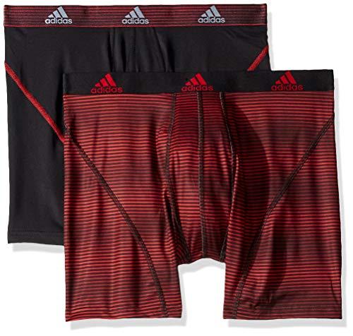 adidas Men's Sport Performance Climalite Boxer Briefs Underwear (2-Pack), Sundown Scarlet Black/Scarlet, -