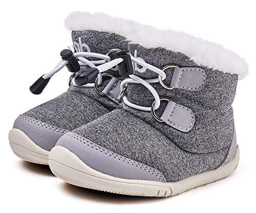 (Baby Boy Boots Snow Winter Warm Infant Boy Shoes Soft Sole Anti-Slip Prewalker 6-24 Months Gray)