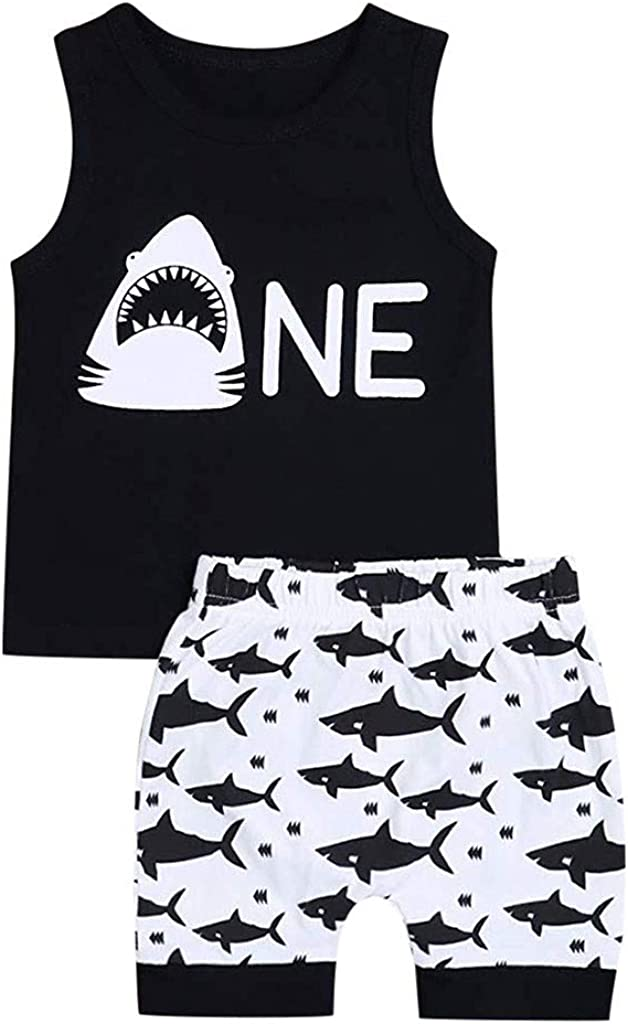 Baby Boy Clothes Infant Summer Sleeveless Cartoon Letter Print Outfit Set Tank Top and Short Pant