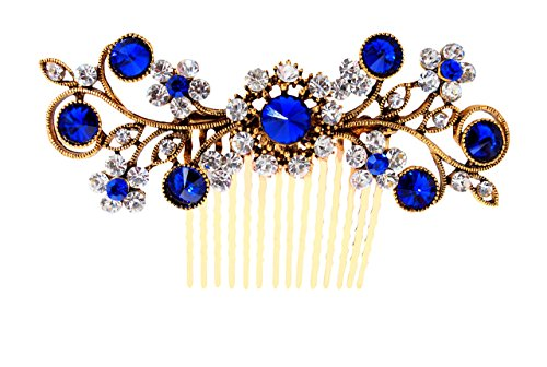 Vogue Hair Accessories Antique Gold Plated Exclusive Collection Wedding Party Fancy Bridal Comb Hair Clip, Blue
