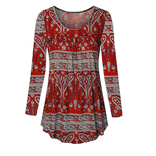 Teresamoon Women's Roll-up Sleeve Button Floral Tunic Tops Loose Henley Shirts