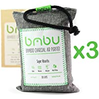 300g Bamboo Charcoal Car Deodorizer / Car Freshener Bag - Remove Odor, Control Moisture & Purifier your Car, Closet, Bathroom, Kitchen, Litter Box - Non-Fragrant Alternative to Sprays