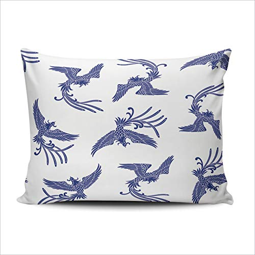 SALLEING Custom Fashion Home Decor Pillowcase Oriental Phoenix Blue Standard Throw Pillow Cover Cushion Case 20x26 Inches One Sided Print