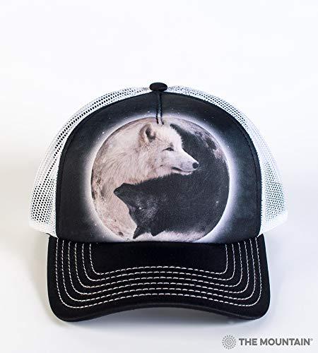 The Mountain Men's Yin Yang Wolves Foam Trucker Hat, Black, Adjustable ()