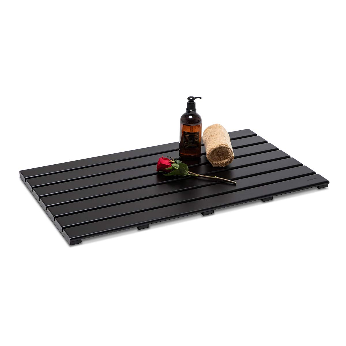 GOBAM Extra Large Bamboo Shower Mat Bath Mat for Bathtub Spa Relaxation, Non-Slip Bathroom Floor Mat for Indoor or Outdoor, 31.50 x 18.35inches, Black