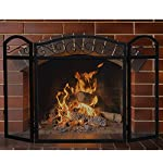 MyGift Black Wrought Iron Scrollwork 3-Panel Mesh Fireplace Screen by MyGift
