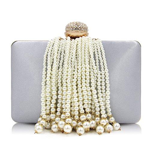 Milisente Women Pearl Clutches Beaded Tassel Evening Bag Satin Clutch Purse (Silver)