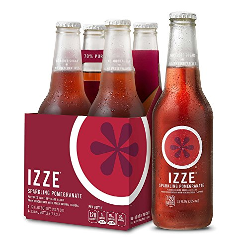 IZZE Sparkling Juice, Pomegranate, 12 oz Glass Bottles, 4 Count ()
