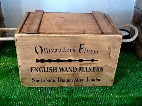 Caja con tapa Ollivanders varita tienda de Harry Potter en el pecho caja de almacenaje por Orchard Lane interiores