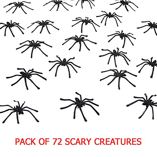 Creepy Spiders Party Favor - 72 Count Children's Realistic Spider Halloween Decoration Prank Toy for Kid's Party - Ages 3 and Up - Black]()