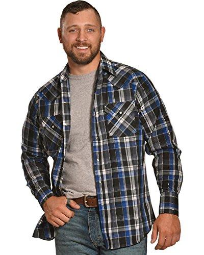 ELY CATTLEMAN Men's Blue Lurex Plaid Shirt Indigo Large (Plaid Shirt Lurex)