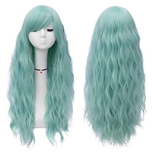 Mildiso Long Mint Green Wigs Womens Fluffy Curly Wavy Cosplay Wigs for Girl (Mint Green) M047G