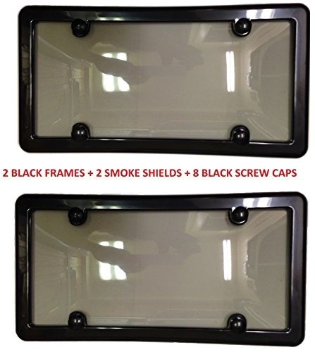 - 2 UNBREAKABLE TINTED SMOKE LICENSE PLATE SHIELD COVER + 2 BLACK FRAMES + 8 BLACK SCREW CAPS