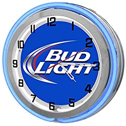 Bud Light 18 Blue Double Neon Garage Clock from Redeye Laserworks