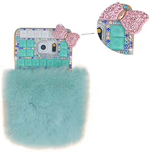 (Spritech(TM Samsung Galaxy S7 Clear Phone Case,Green Bling 3D Handmade Crystal Green Fur Ball Pink Small Bowknot Design Hard Smartphone Cover for Samsung Galaxy S7)