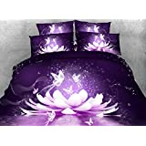 Ammybeddings 4 PCS Duvet Cover Sets Twin Size,1 Purple Comforter Cover,1 Solid Black Bed Sheet and 2 Pillow Shams,Digital Print 3D Purple Butterfly and Floral Bedding Sets,Modern Luxury Bedroom Sets