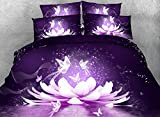 King Size Comforter Sets 110 X 96 King Duvet Cover Sets,4 Piece Luxury Purple Butterfly Bedding,1 Bed Sheet,1 Quilt/Comforter Cover King,2 Pillow Shams,Soft 3D Floral Bedding Sets Queen/Full/Twin