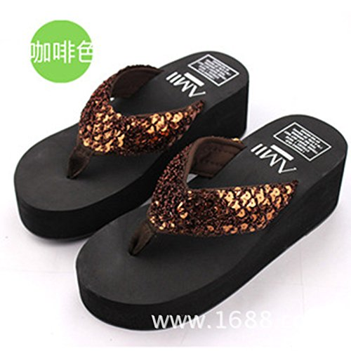 High Skidproof Slipsole Slippers Heels Bohemia Flops Summer Beach Womens Slippers Gold Flip AMZMINE Thongs Flat B1PqZxx