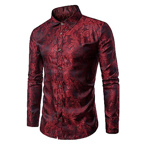 GH Men Printed Silk Dress Dance Prom Party Button Down Shirts Wine Red L (Silk Dress Printed)
