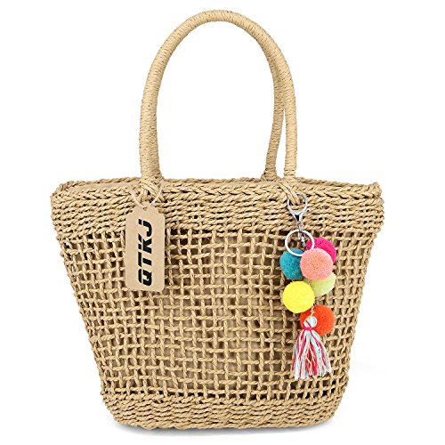 Summer Travelling Rattan bag, Hollow Straw Tote Bag Drawstring Hand-Woven Handbags with Pompom Pendant
