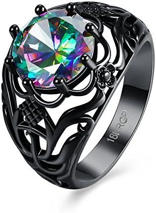 ジュエリー ブランド 人気 リング レディース ブライダル カラー ジルコン 黒光沢処理 アクセサリー ファッションリング 指輪 14号