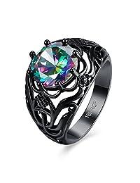 Haoze Round Cut Black Gold Mystic Big Diamond High Polish Ring Best for Wedding Engagement