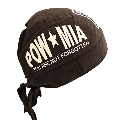 Adjustable POW MIA Military Black Skull Cap Hat Bandana with Tie