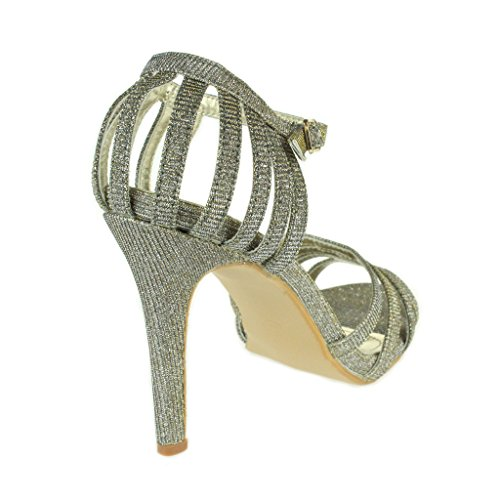 Frau Damen Sparkly Abend Hochzeit Party Abschlussball Braut High Heel Knöchel Gurt Sandalen Schuhe Größe Zinn