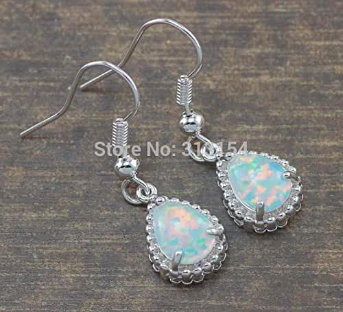Chokushop 14 ! Unusual Special ! Retail For Women Jewelry White Fire Opal Silver Earrings 1 1/4