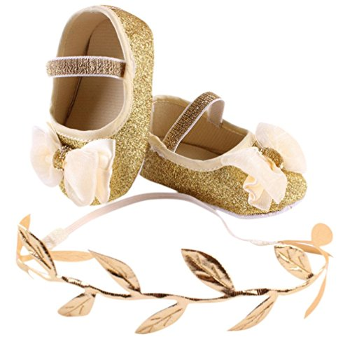 YJYdada Baby Infant Toddlers Soft Sole Sequin Bowknot Mary Jane Shoes + Leaves Headband /Set (11(0~6month), golden) (Zero Gold Leaf)