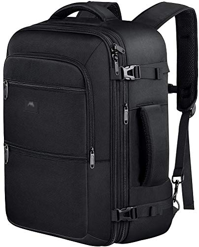 Vancropak 40L Flight Approved Weekender Carry On Backpack, Expandable Large Travel Backpacks Bag for Men Women, Water Resistant Luggage Rucksack Daypack for Outdoor,Black (Best Travel Luggage Backpack)