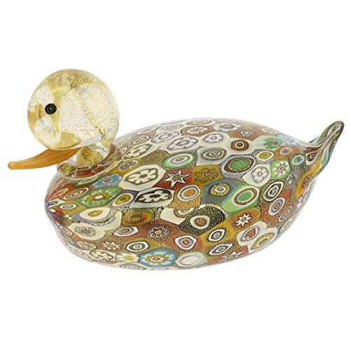 GlassOfVenice Murano Glass Golden Quilt Millefiori Duck - Large ()