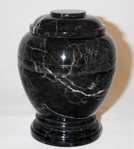 Khan Imports Black Marble Stone Pet Cremation Urn for Large Dog or Pets Ashes - Up to 200 Pounds ()