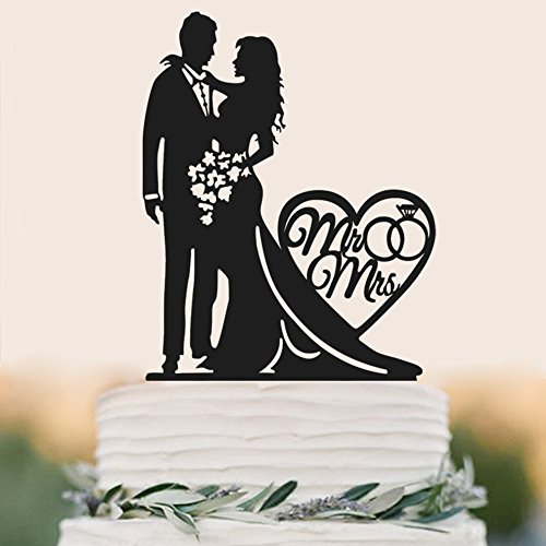 Mr and Mrs Cake Topper Acrylic Love Wedding Cake Topper Funny Bride and Groom Cake Topper -