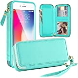 """iPhone 6 Wallet Case, LAMEEKU Protective iPhone 6s Leather Card Holder Case with Detachable Handbag Purse, Shockproof Cover for iPhone 6/iPhone 6s 4.7"""" Mint Green"""