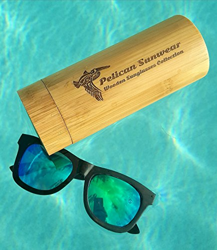 Wooden Polarized Sunglasses - Handmade Solid Real Dumu Wood Wayfarer Style w/Bamboo Case - 100% UV Protection - for Men and Women by Pelican Sunwear (brown, green) by Pelican Sunwear (Image #5)