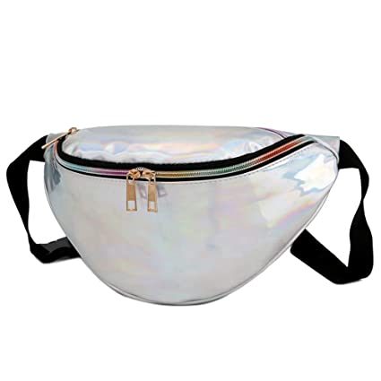 12766d9a92 Amazon.com: Holographic Fanny Pack Laser Waist Packs Heuptas Hip Bag ...