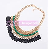 210-1 Green Elegant Women Jewelry Pendant Crystal Choker Chunky Statement Chain Bib Necklace